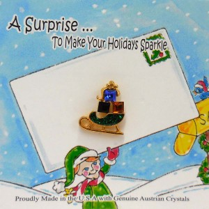51-275  Sleigh w Presents Crystal Holiday