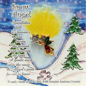 51-399-G-RU  Ruby and Emerald Angel w Snowflake Christmas