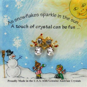 51-412-G-CY-RS  Crystal Snowmen Kids Holding Hands Red  Scarf