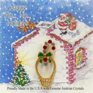 51-721  Eyeglass Holder with Candy Cane Pin