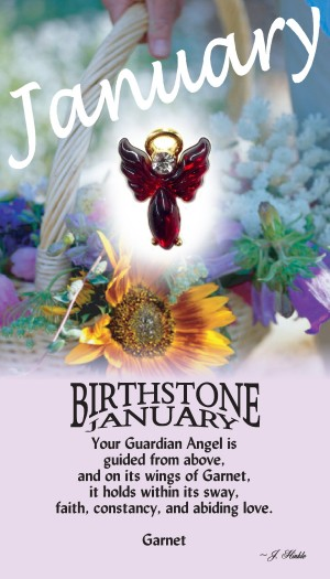 A handset garnet cabochon moonstone body with a matching handset custom manufactured modulated wings that are very reflective. A Genuine Austrian Crystal is used as the head stone. This lapel pin has a 14Kt gold finished halo hovering over the head.