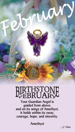 A handset amethyst cabochon moonstone body with a matching handset custom manufactured modulated wings that are very reflective. A Genuine Austrian Crystal is used as the head stone. This lapel pin has a 14Kt gold finished halo hovering over the head.