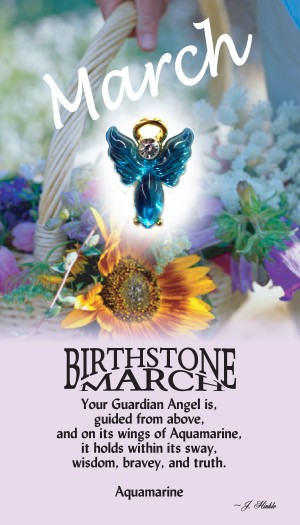 A handset aquamarine cabochon moonstone body with a matching handset custom manufactured modulated wings that are very reflective. A Genuine Austrian Crystal is used as the head stone. This lapel pin has a 14Kt gold finished halo hovering over the head.