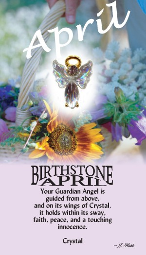 A handset crystal cabochon moonstone body with a matching handset custom manufactured modulated wings that are very reflective. A Genuine Austrian Crystal is used as the head stone. This lapel pin has a 14Kt gold finished halo hovering over the head.