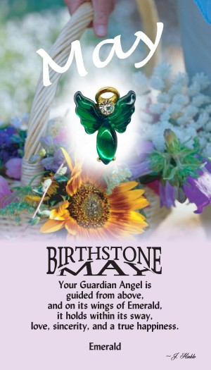 A handset emerald cabochon moonstone body with a matching handset custom manufactured modulated wings that are very reflective. A Genuine Austrian Crystal is used as the head stone. This lapel pin has a 14Kt gold finished halo hovering over the head.