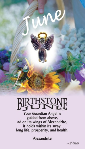 A handset alexandrite cabochon moonstone body with a matching handset custom manufactured modulated wings that are very reflective. A Genuine Austrian Crystal is used as the head stone. This lapel pin has a 14Kt gold finished halo hovering over the head.
