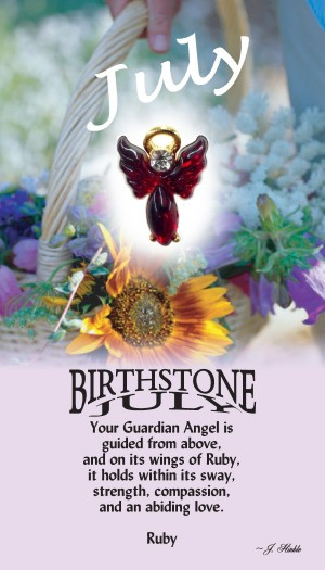 A handset ruby cabochon moonstone body with a matching handset custom manufactured modulated wings that are very reflective. A Genuine Austrian Crystal is used as the head stone. This lapel pin has a 14Kt gold finished halo hovering over the head.
