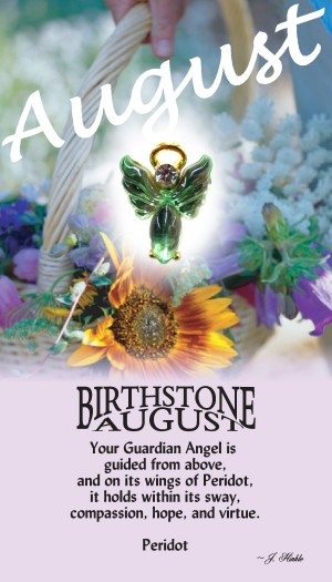 A handset peridot cabochon moonstone body with a matching handset custom manufactured modulated wings that are very reflective. A Genuine Austrian Crystal is used as the head stone. This lapel pin has a 14Kt gold finished halo hovering over the head.