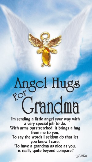 Each Angel Hugs For Grandma lapel pin has a hand set faceted body stone with hand painted sparkling silver epoxy wings.