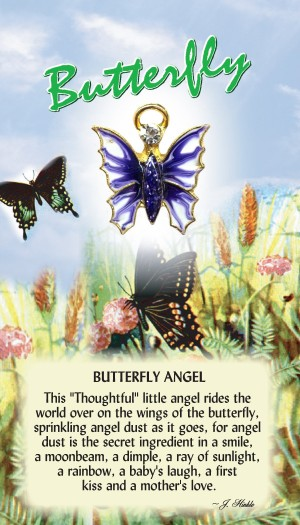 Layered in a 14Kt gold finish. The butterflies wings are accented with hand painted epoxy and the body is a sparkling faceted stone. The butterfly has a Genuine Austrian Crystal head and a halo hovering over the angel. Each pin comes on a colorful greeting card that can be used as a gift card.