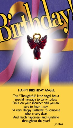 The Happy Birthday Angel has a moonstone body and matching manufactured modulated wings. The head stone on the angel is a Genuine Austrian Crystal with a halo hovering over the head.