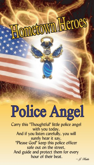 Our Police Angel has a blue moonstone body with matching hand painted glitter epoxy on the wings. The angel has a Genuine Austrian Crystal head with a halo which is layered in a 14Kt gold finish.